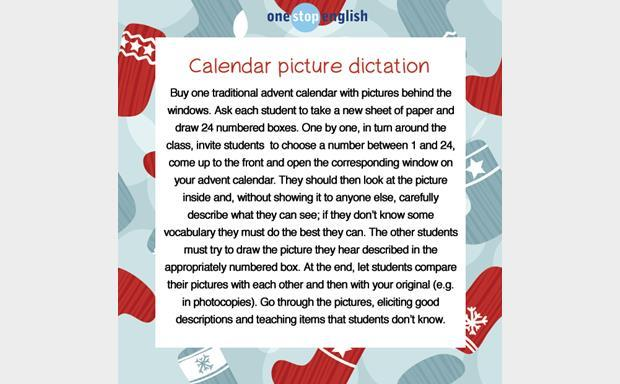 Calendar picture dictation